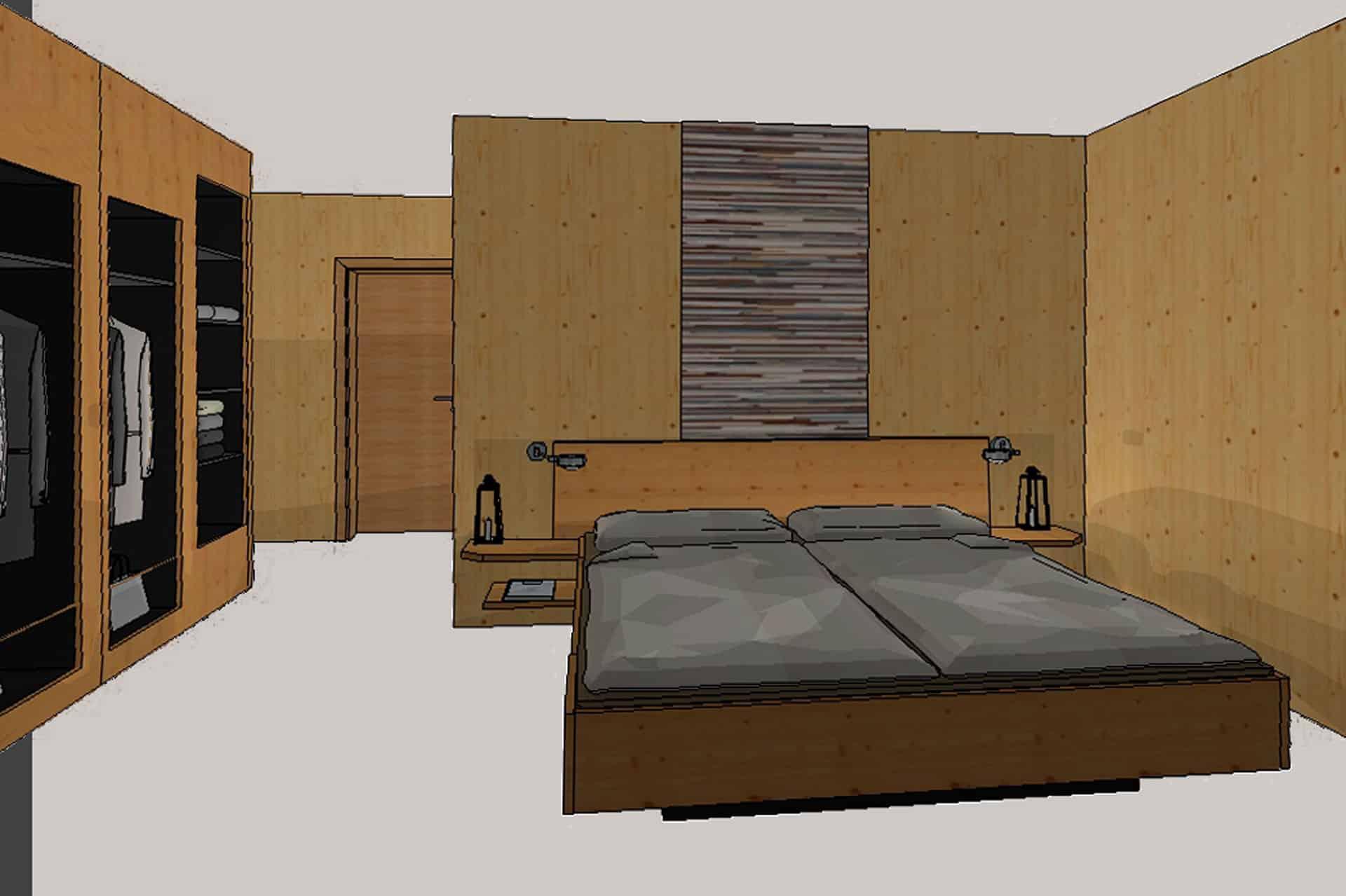 Skizze Schlafzimmer, Haus Dorf